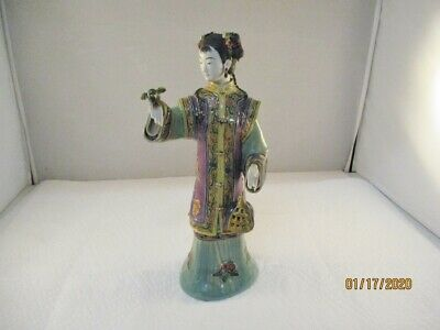 "Porcelain, Asian ,Oriental Woman, Lady Figurine / Statue, 10-1/2"" tall #27"