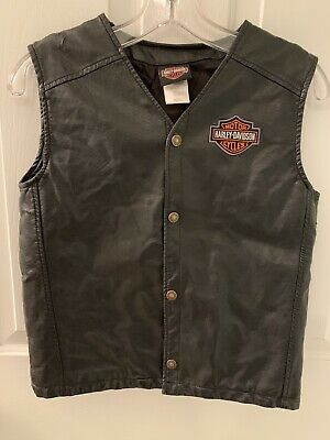 Harley Davidson Faux Black Leather Motorcycle Vest Sz. Girls 12/14 Womens XS