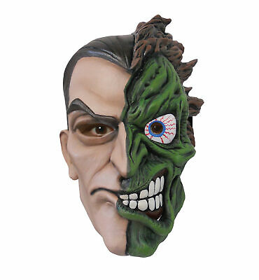 Two-Face DC Comics Batman Supervillain Men Costume Overhead Latex Mask