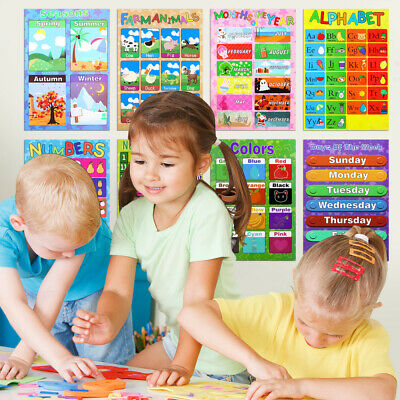 10PCS Educational Posters Funny Vivid Learning Creative Supplies Charts for Kids