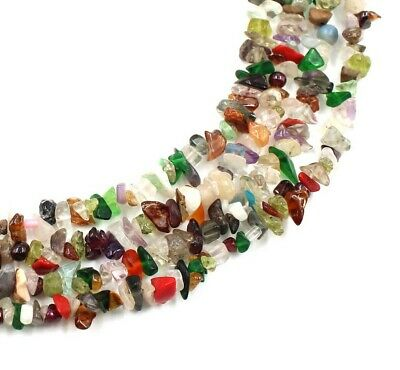 AAA Natural Multi Gemstone Uncut Chip Freeform Smooth Nugget 34'' Beads Strand