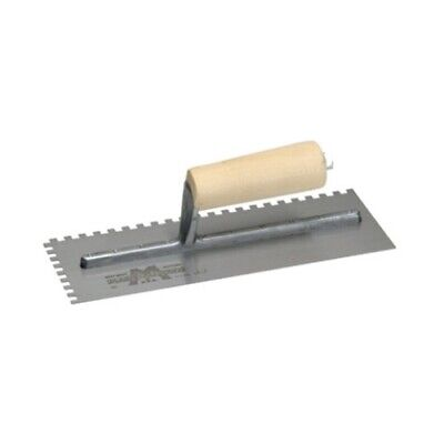 """MarshallTown 702 11"""" x 4-1/2"""" Notched Trowel with Wood Handle"""