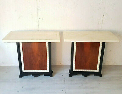 2 Little Italian Art Deco Consolle In Walnut And  Parchemin From 1930-40