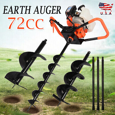 """72cc Power 4""""+8""""+12"""" Engine Auger Bits 4HP Gas One Man Powered Post Hole Digger."""