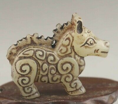 Chinese old natural jade hand-carved statue dragon pendant 2.3 inch
