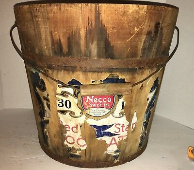 Antique Wooden Staved Bucket Bail Handle Shaker