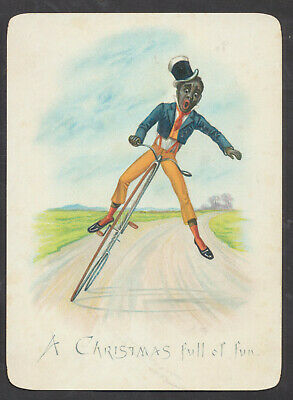 C2539 Victorian Xmas Card: Back Gent Falling Off Pennyfarthing Bicycle