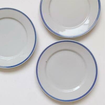 Antique Set Of 3 White Porcelain Plates With Old Blue Lines
