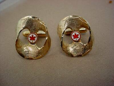 Air Canada Airlines Pilots Cufflinks Enameled Maple Leaf Crest Canadian Logo