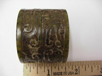 Chinese Antique Spinach Nephrite Jade Well Carved Archers Thumb Ring, Old Collec