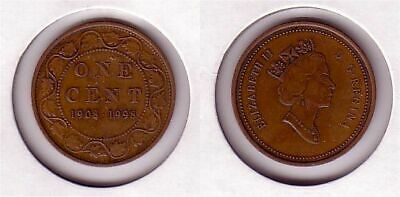 1908 1998 Canada Silver Large One Cent Penny Antique Finish