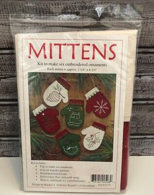 Rachel Pellman  - Mittens, Kit To Make 6 Embroidered Ornaments, NEW