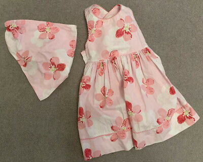 Baby Girls Pink Flowered Dress And Sash By Vertbaudet - Age 2 - Excellent Cond