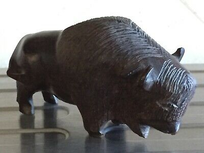"Hand Carved Ironwood Buffalo/Bison Solid Wood Standing Figurine 4"" x 2-1/4"""