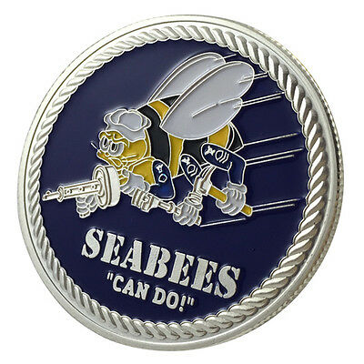 """United States Navy Seabees Can Do Reproduction 12/"""" Circle Aluminum Sign"""