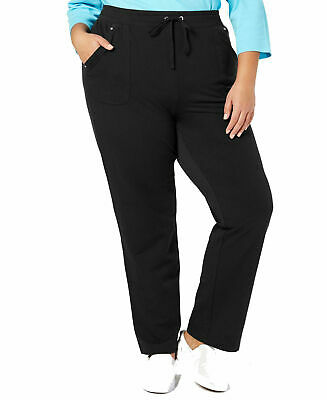 Karen Scott Womens Pants Black Size 1X Plus Drawstring Pocket Stretch $54 160