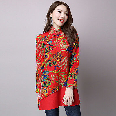 Vintage Women Ethnic Style  Tops T-Shirt Blouse Long Sleeve Cotton Lined Collar