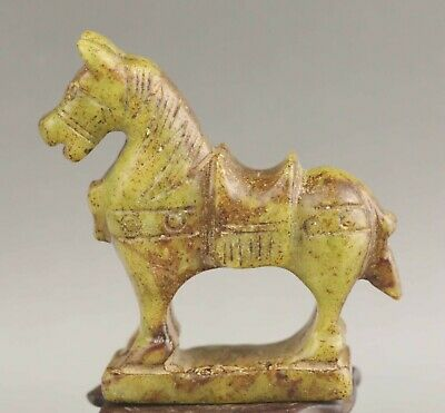 Chinese old natural hetian jade hand-carved statue horse 2.9 inch