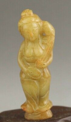 Chinese old natural jade hand-carved statue buddha pendant 2.9 inch