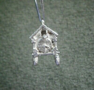 Vintage Sterling Silver Cuckoo Clock Charm or Pendant ~ 1.5g