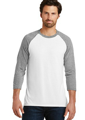 New DistRict Made 3//4 Sleeve Tri Blend Baseball Tee Top 4X  MSRP $24.00