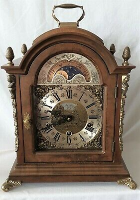 Warmink Clock Triple Chime Rare Dutch Moon Dial, Silent Option Vintage 35cm High