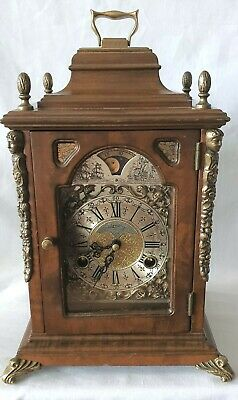 Warmink Mantel Clock Vintage Dutch Shelf Moonphase Bell Strike 8 Day Key Wind