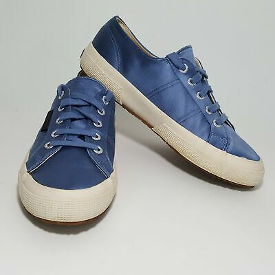 Anthropologie Superga SX Man Repeller Blue Satin Sneakers Shoes Womens 7.5