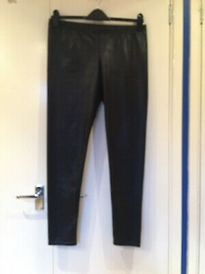 Dorothy Perkins Size 16 Shiny Leather Look Black Leggings