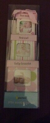 New. Boxed, Pearhead Little Keepsake Set. In Pink. 3 Boxs For Tooth, Curl, Brace