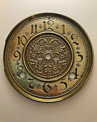 Antique Pressed Brass Wall Clock Dial, 14.4cm Diameter