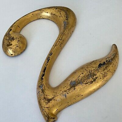 "Antique Sign Number 2 Metal 12"" Gold Vintage Swan-like"