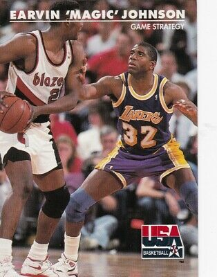 """1992 Skybox Usa==Game Strategy #-30 Earvin """"Magic"""" Johnson==Los Angeles Lakers"""