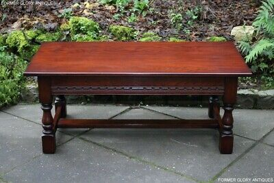An Old Charm Tudor Brown Solid Oak Tea Wine Coffee Table Book Magazine Tv Stand