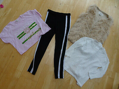 RIVER ISLAND girls 4 piece clothes bundle gilet fine knit jumper t shirt 9 - 10