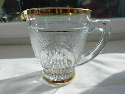 VINTAGE ART DECO CLEAR/TEXURED GLASS SMALL JUG/creamer VGC