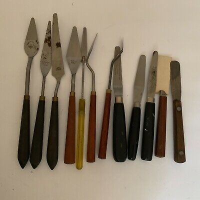 Lot 12 Vintage PAINT MIXING PALETTE KNIVES SPATULA