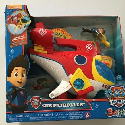 New Paw Patrol Sub Patroller Transforming Vehicle W Lights Sounds Launcher Toy