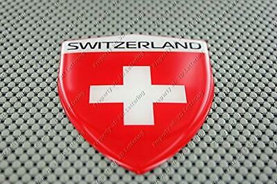 Switzerland Flag Raised Clear Domed Lens Decal