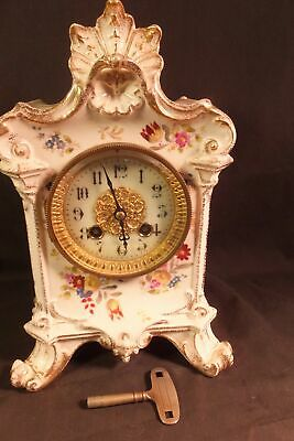 Antique Ornate China Clock W French Japy Freres Movement