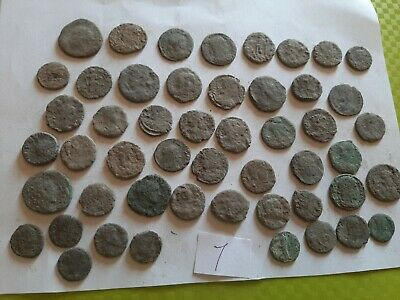 Lot of 50 ancient Roman Bronze Coins for cleaning GOOD QUALITY Intact lot 7