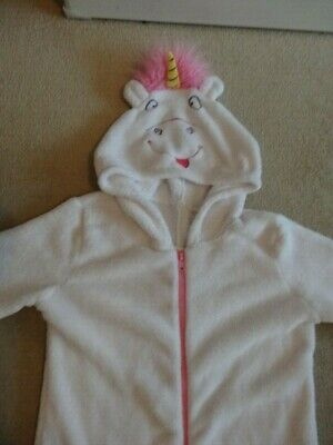 White Fluffy Despicable Me Unicorn One Piece All In One - Age 9 - 10 Years