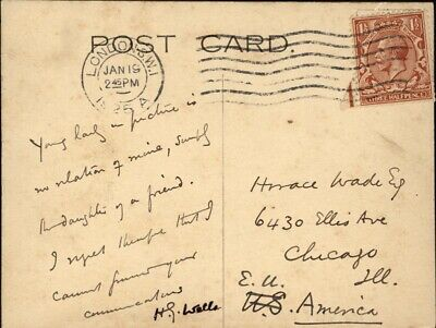 H. G. Wells - Autograph Note On Picture Postcard Signed 01/19/1925