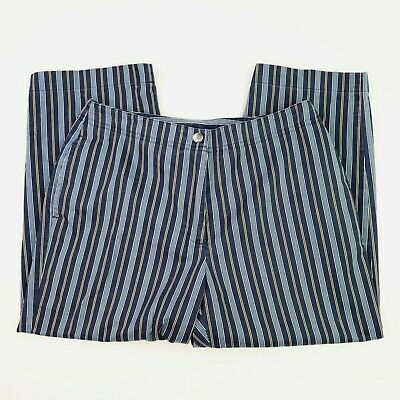 Liz Claiborne Lizsport Petite Blue Striped Capri Pants Petites 8P Cotton Cropped