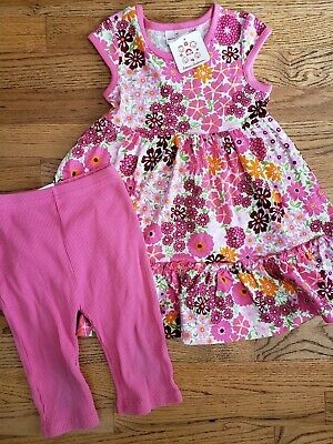NWT Hanna Andersson Pink Floral Twirl Dress Ribbed Capri Pants 90 3 3T