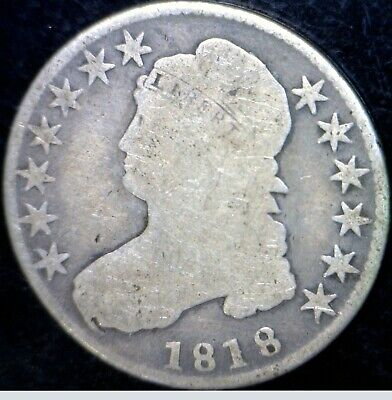 1818 Capped Bust Half Dollar Silver Coin NICE Early Coins Lot #2     NR