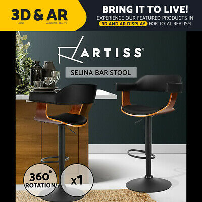 Artiss Wooden Bar Stools Kitchen Swivel Gas Lift Bar Stool Chairs Leather Black