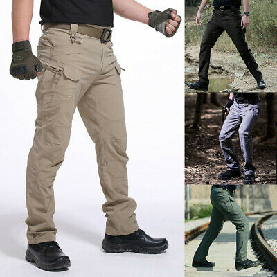 Mens Waterproof Tactical Trousers Windproof Outdoor Hiking Combat Sports Pants