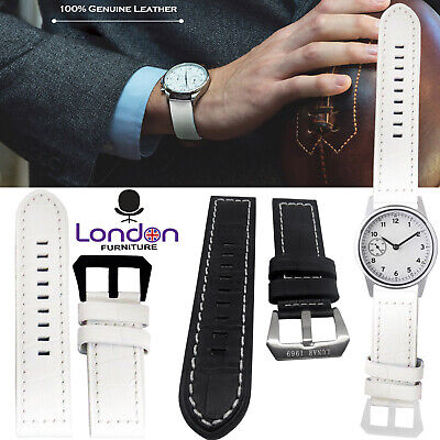 100% Mens Genuine Soft Leather WristBand Watch Straps Replacement 22mm 24mm UK