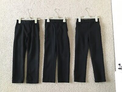 3 Black Pairs Of Boys Slim Fitting School Trousers From Next Age 6-7 Years.